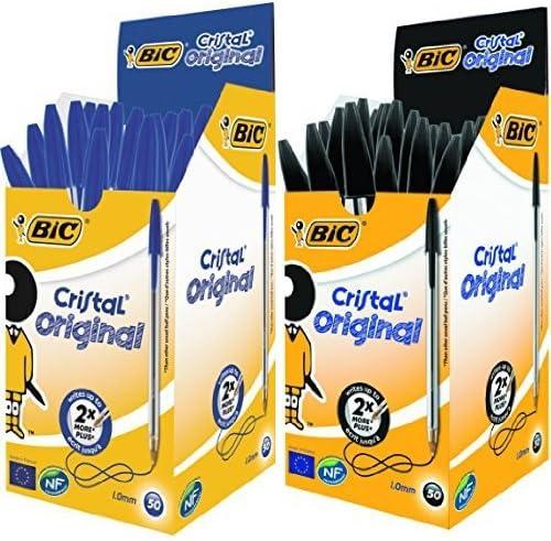 Bic - Pack 50 unidades bolígrafo Cristal color azul + 50 unidades ...