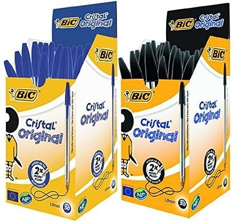 Bic Cristal Original 8373631 - Caja de 50 Unidades, Bolígrafos Punta Media (1,0 Mm), Color Negro: Amazon.es: Oficina y papelería