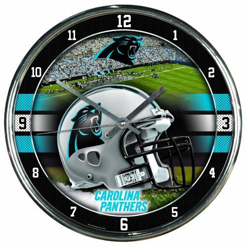 Carolina Panthers Face (NFL Carolina Panthers Chrome Clock, 12