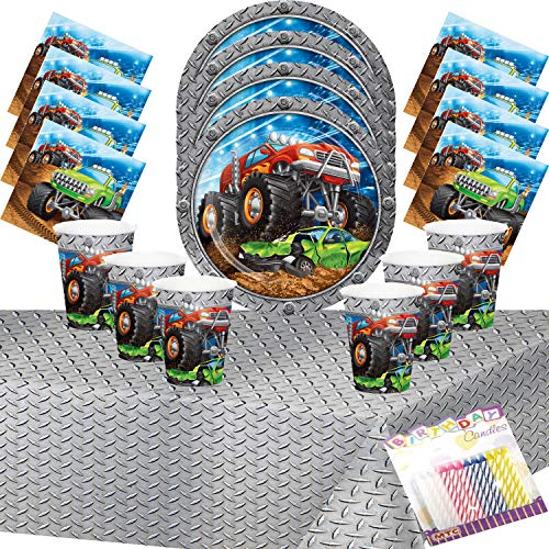 Monster Truck Rally Party Supplies Pack Serves 16:Dinner Plates Luncheon Napkins Cups and Table Cover with Birthday Candles - Monster Truck Birthday Supplies Deluxe (Bundle for 16) -