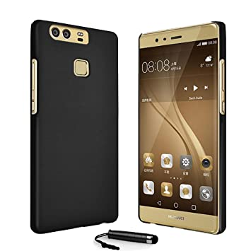 buy online 5e1d8 042cb Armour Slim Hard Case Shell Cover For Huawei P9 + Screen Protector + Stylus  (Black)