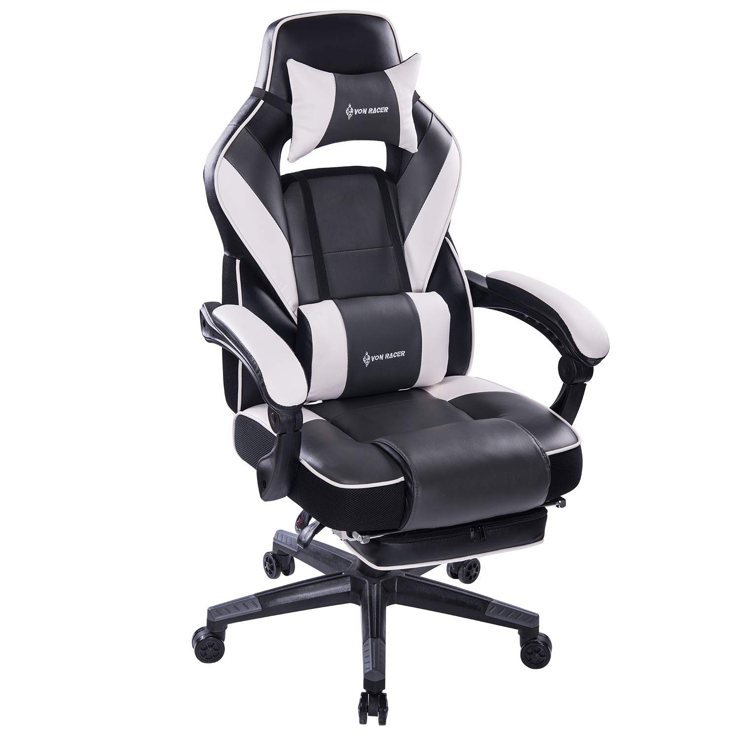 KILLABEE Massage Reclining Gaming Chair - Ergonomic High-Back Racing Computer Desk Office Chair with Retractable Footrest and Adjustable Lumbar Cushion (Gray/White)