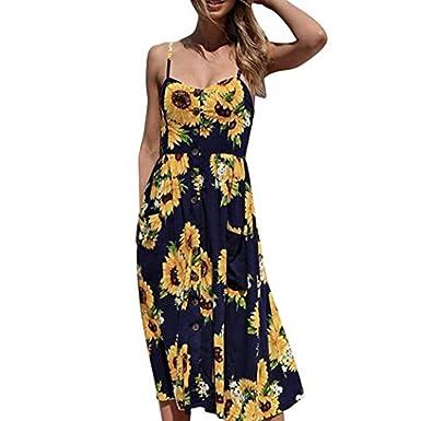 1fcc8e265870 Veepola Women Dress,Girl Sunflower Boho Buttons Spaghetti Strap Midi Maxi  Dresses (S)
