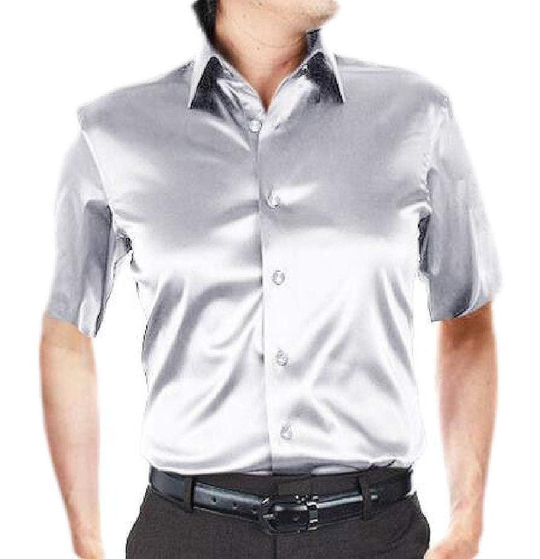 HTOOHTOOH Mens Slim Shirt Slim Fit Silk Like Satin Dress Shirts Dance Prom Shirt
