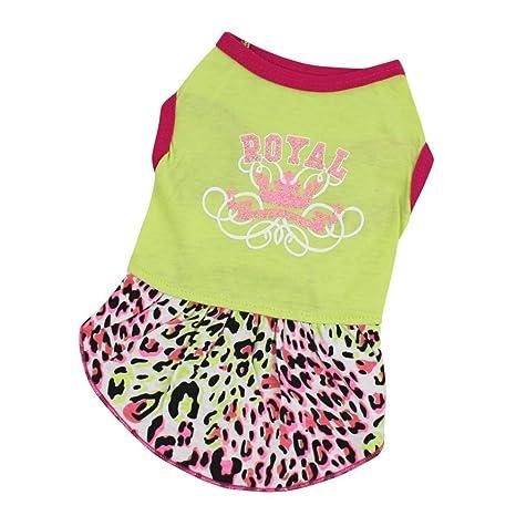 SunGren Ropa de gato para perros, falda de leopardo del animal doméstico falda del vestido