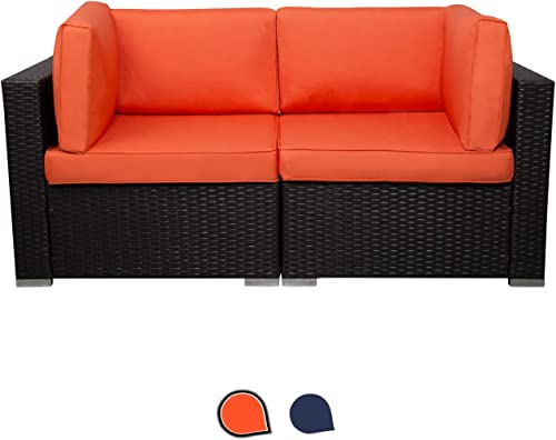 EXCITED WORK Wicker Loveseats Patio Sectional Furniture Corner Sofa All Weather Outdoor Rattan Couch Set Conversation Sets Orange