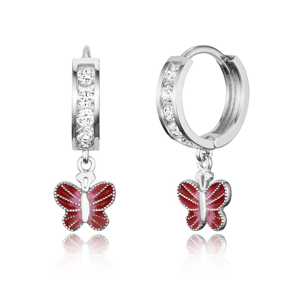 925 Sterling Silver Rhodium Plated Enamel Butterfly Channel Huggy Baby Girls Hoop Earrings