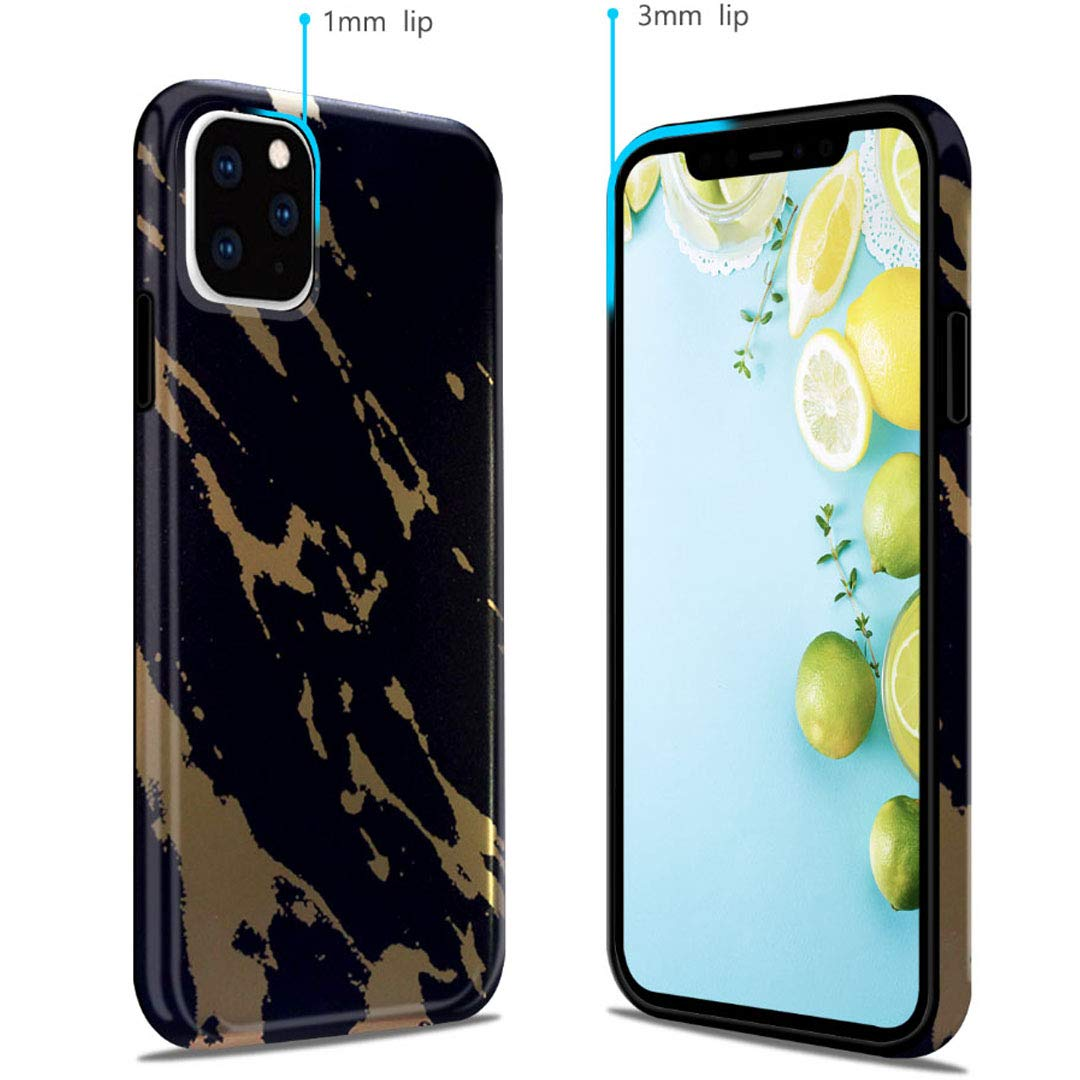 iPhone 11 2019 6.1 Case, Ranyi Gold Stamping Marble Pattern [Support Wireless Charging] Shock Absorbing Slim Flexible Resilient TPU Rubber/Silicone Case for Apple 2019 6.1 Inch iPhone 11 (Number 1) by Ranyi