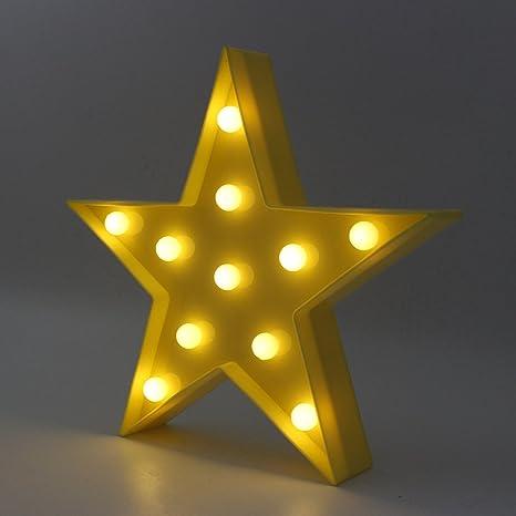 Lámpara de luz LED en forma de estrella, lámpara de mesa de ...
