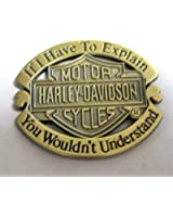 Metal Enamel Pin Badge Brooch Antique Brass Finish Harley Davidson Explanation