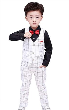 a0ca808049d81 Lukis 4pcs Ensemble Costume Bébé Garçon d'Honneur Carreaux Gilet Pantalon  Chemise Nœud Papillon Garçon Mariage: Amazon.fr: Vêtements et accessoires