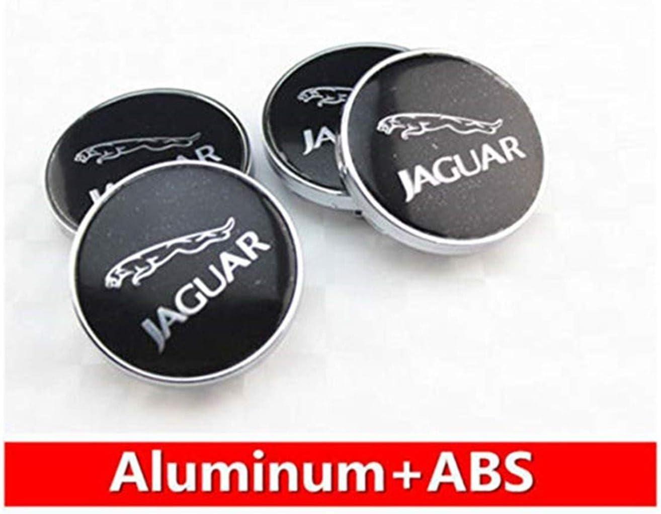 GONGXIFACAI 4pcs 60mm Car Emblem Badge Wheel Hub Caps Centre Cover Jaguar Black