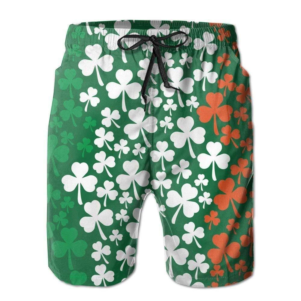 vaepinopes Irish Flag Shamrock Pattern Mens Printing Beach Board Shorts Slim-Fit Beachwear with Pockets