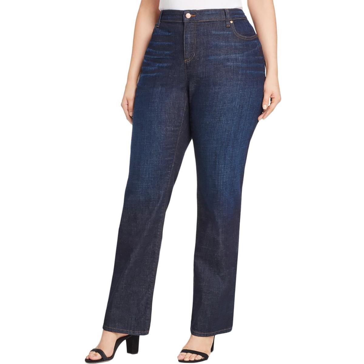 Eileen Fisher Womens Plus Bootcut Dark Wash Jeans Blue 24W