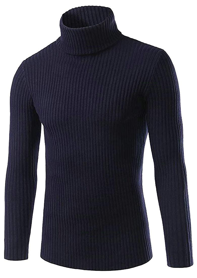 Cromoncent Mens Solid Autumn Turtle Neck Ribbed Knit Pullover Jumper Sweater