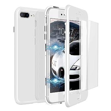 af0829fd18a CE-Link Funda iPhone 7 Plus Funda iPhone 8 Plus y Cristal Templado iPhone 7  Plus/iPhone 8 Plus Carcasa 360 Grados 3 en 1 Magnética Macaron Case  Protectora: ...