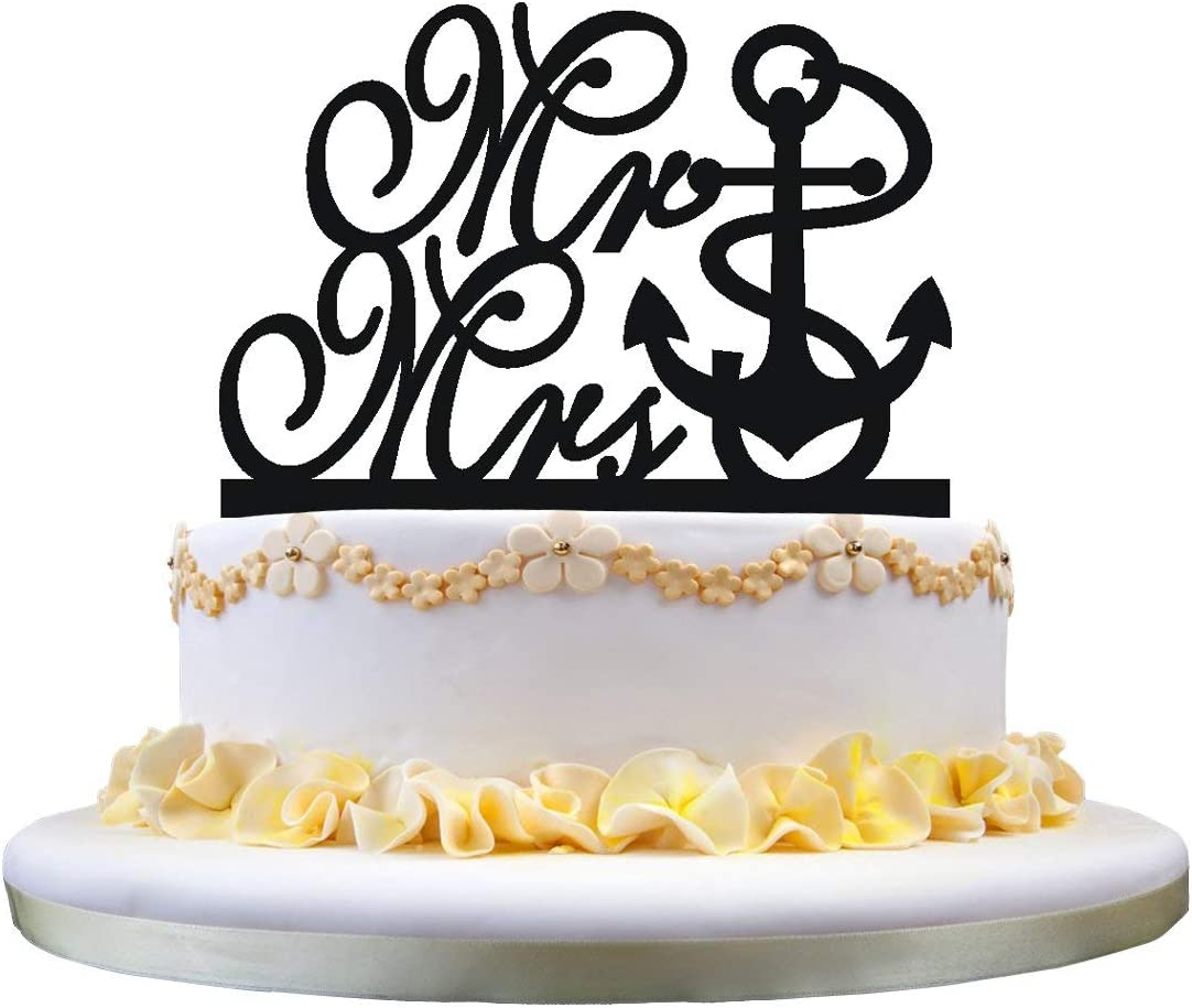 Engagement Cake Topper- Anchor Cake Topper, Mr and Mrs Monogram Cake Topper Perfect for Engagement Wedding Anniversary Party Decor