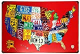 "ERLOOD RED Us MAP Route US Road 66 - Retro Vintage Tin Sign 12"" X 8"""