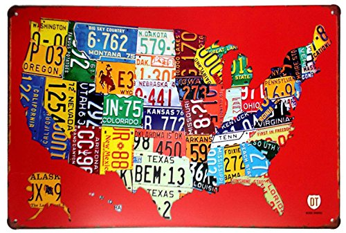 ERLOOD-RED-Us-MAP-Route-US-Road-66-Retro-Vintage-Tin-Sign-12-X-8