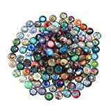ULTNICE 200pcs Cabochons Round Mosaic Tiles for Crafts Glass Mosaic for Jewelry Making (Color: As Shown)