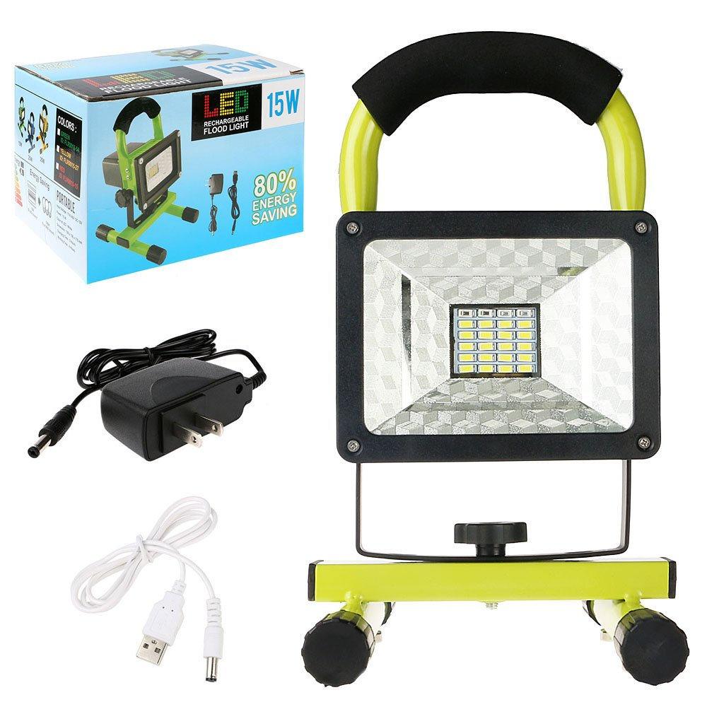 Rechargeable Work Lights with Magnetic Base - 15W 24LED Waterproof Outdoor Camping Lights, Built-in Lithium Batteries, 2 USB Ports to Charge Mobile Devices, Emergency Flashing Modes (Green) by Vanker (Image #7)