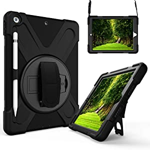 iPad 8th Generation Case 2020/iPad 7th Generation Case, iPad 10.2 Case with Pencil Holder/Rotatable Stand Hand Strap and Shoulder Belt,Heavy Duty Rugged Protective Case for iPad 10.2 inch 2019 Release
