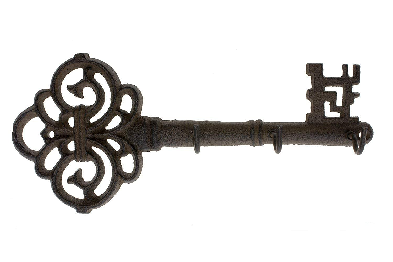 TUANA 装飾的な壁掛けのキーホルダー 3つのフックでビンテージキーを壁に取り付け B07MBYS8G4