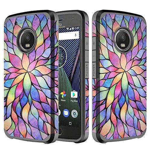 buy popular b2acf 191f2 Moto G Plus (5th Generation) Case, Moto G5 Plus Case, Dual Layer Hybrid  Defender Protective Case Cover for Motorola Moto G5 Plus - Rainbow
