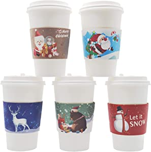 40pcs Christmas Coffee Cup Hot Chocolate Cup Sleeves,Fits 12 oz to 20 oz,with 5 Different Custom Xmas Designs,for Christmas Hot Chocolate,Coffee,Cocoa,Tea or Cold Beverage