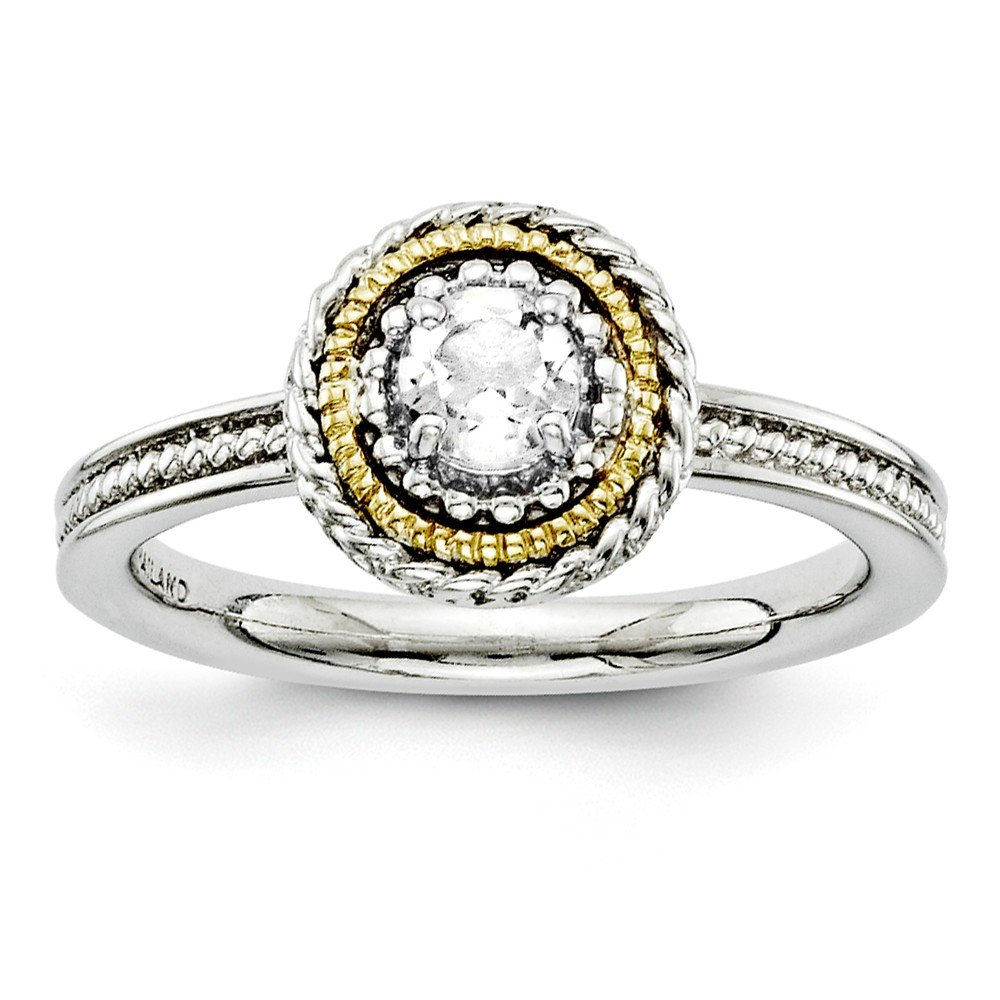 Top 10 Jewelry Gift Sterling Silver & 14k Stackable Expressions White Topaz Ring