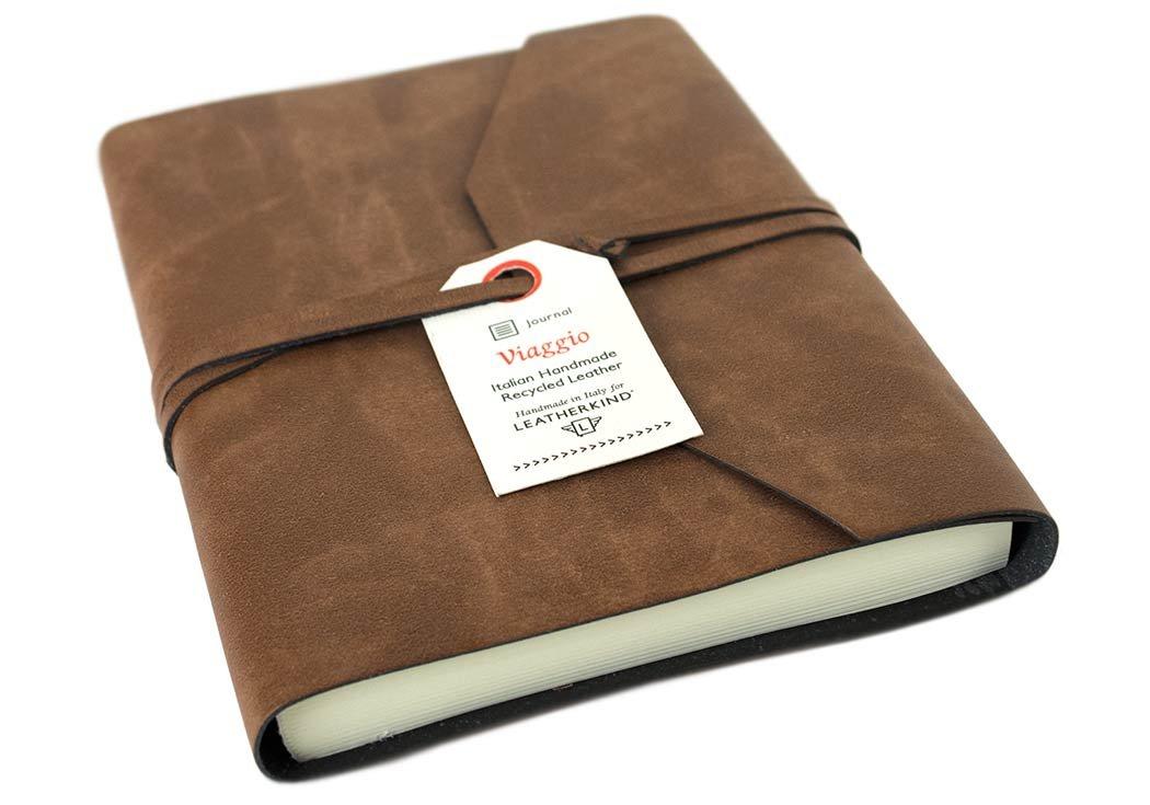 LEATHERKIND Viaggio Recyceltes Leder Notizbuch Braun, A6 Liniert Seiten Seiten Seiten - Handgefertigt in Italien 0d6c92