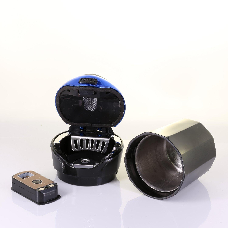 Azul Cenicero del Coche Desmontable Encendedor de Cigarrillos Autom/ático con luz LED azul sin humo para Veh/ículos SUV de Camiones Inicio de la Oficina
