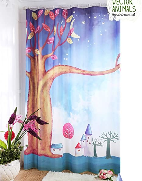 Children S Curtains Nauy Curtain Cartoon Floor Bedroom Windows And Living Room Curtain Shade Cloth Finished Curtains Hook Design 1 Sheet Color Hook Design Size W1 5 H2 7 A Sheet Amazon Co Uk Kitchen Home