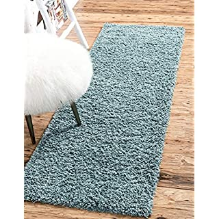 Unique Loom Solo Solid Shag Collection Modern Plush Light Slate Blue Runner Rug (2' 6 x 10' 0)