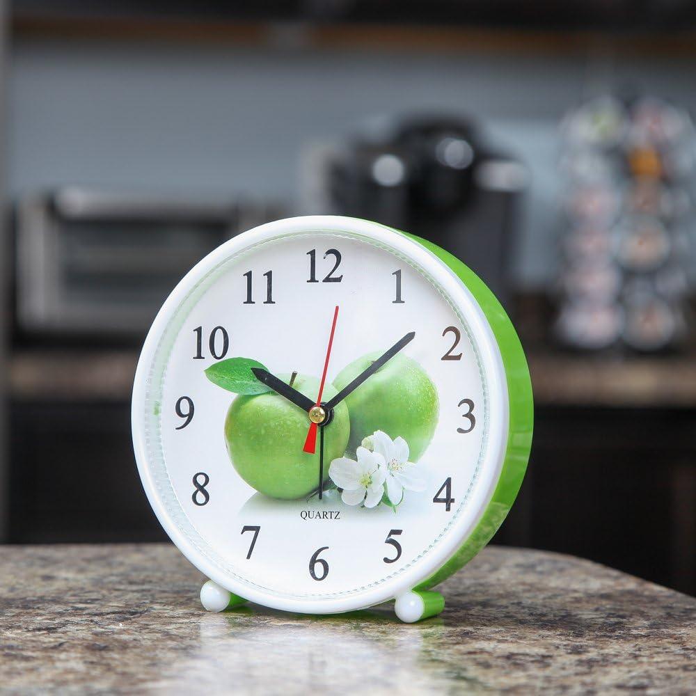 Home-X Cheery Jumbo Green Apple Standalone or Wall Mount Analog Quartz Alarm Clock SHR104
