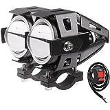 2 x Phare Led Moto,Vococal® 125W LED moto Spot Phares Conduit de Moto LED Phare Projecteur Feu Antibrouillard avec Contrôleur Luminosité: 3000LM, Niveau imperméable: IP65, Lumière Bleu