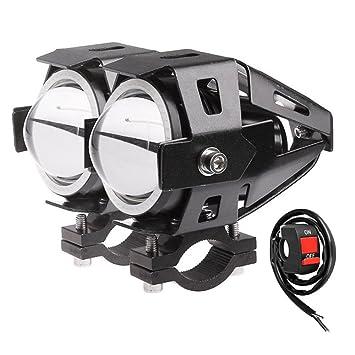 Vococal 2 PCS 125W LED Motorcycle Driving LED Headlight Head Light Spotlight Fog Light Angel Eyes Light Motorcycle Headlights with Controller Red Light