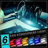 Thunder® 4pcs DC 12V Car Interior LED Light, Underdash Lighting Kit Auto Decorative Atmosphere Neon Lights, With Brightness Regulator Features for All Vehicles - Single Color Ice Blue