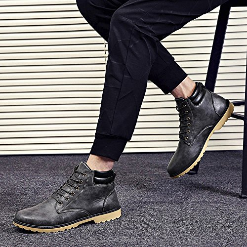 Hatop Men Boots, Men Low Ankle Trim Flat Ankle Winter Autumn Boots Casual Martin Shoes Black