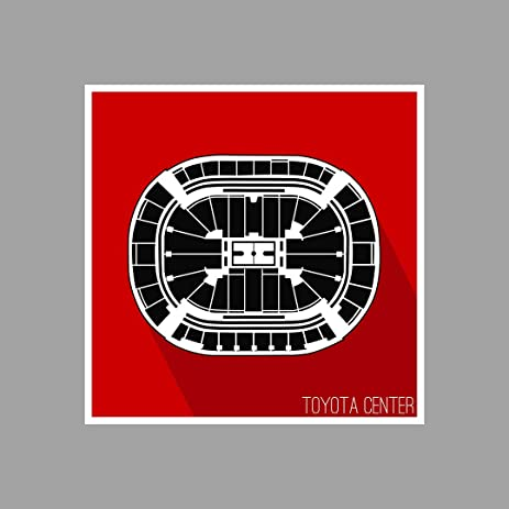 Houston   Toyota Center   Basketball Seating Map   18x18 Matte Poster Print  Wall Art