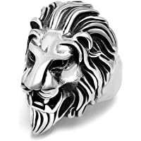 Nawani Stainless Steel Roaring Lion Head Unique Design Ring for Men and Boys, Size Free.