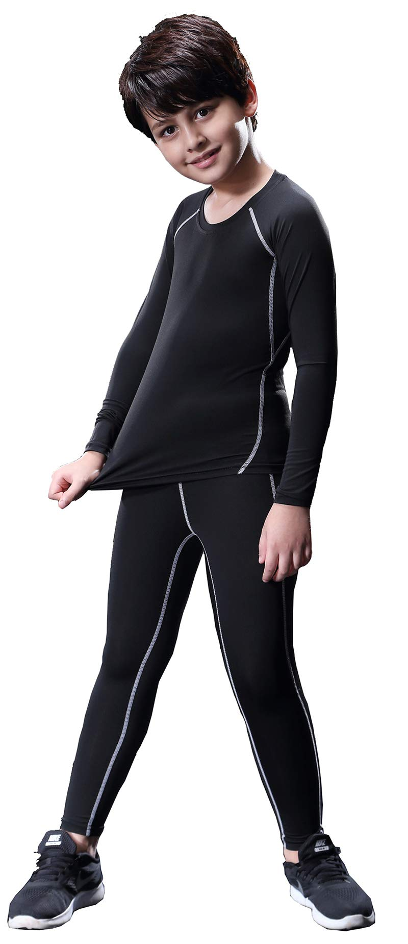 Boy's Thermal Underwear Set Long John Skin Base Layer Tops and Bottom with Fleece Lined by Diyo