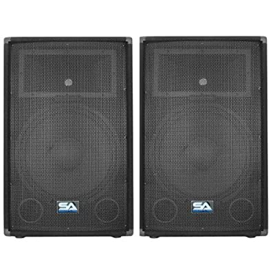 "Seismic Audio - Pair of 15"" PA DJ Speakers 700 Watts PRO Audio - Mains, Monitors, Bands, Karaoke, Churches, Weddings from Seismic Audio"