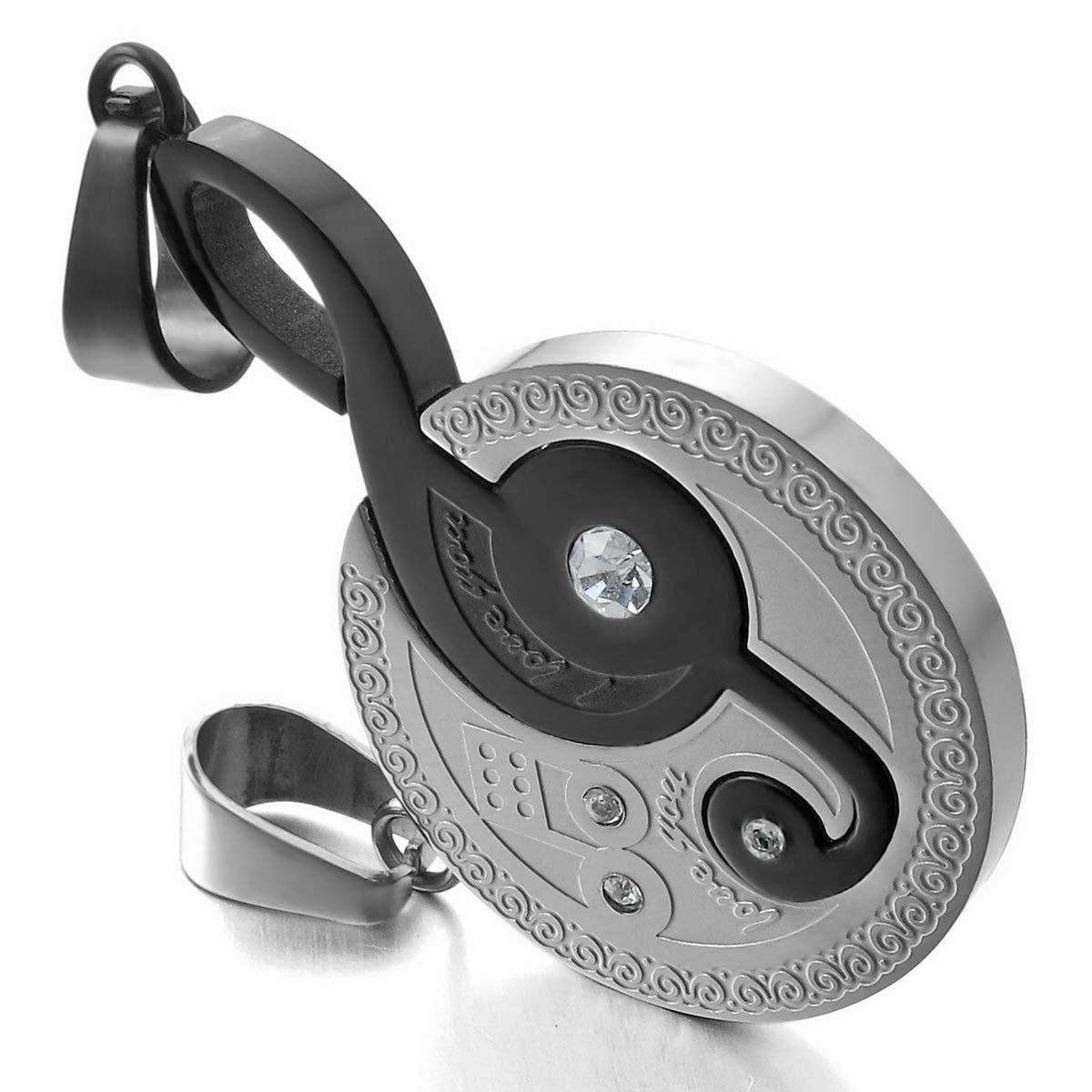 MunkiMix 2 PCS Acciaio Inossidabile Pendente Ciondolo Collana Zirconia Cubica Musicale Note Simbolo Amore San Paar Lui /& Lei Set Uomo,Donna,catenina lunga 50 /& 58 cm inclusa