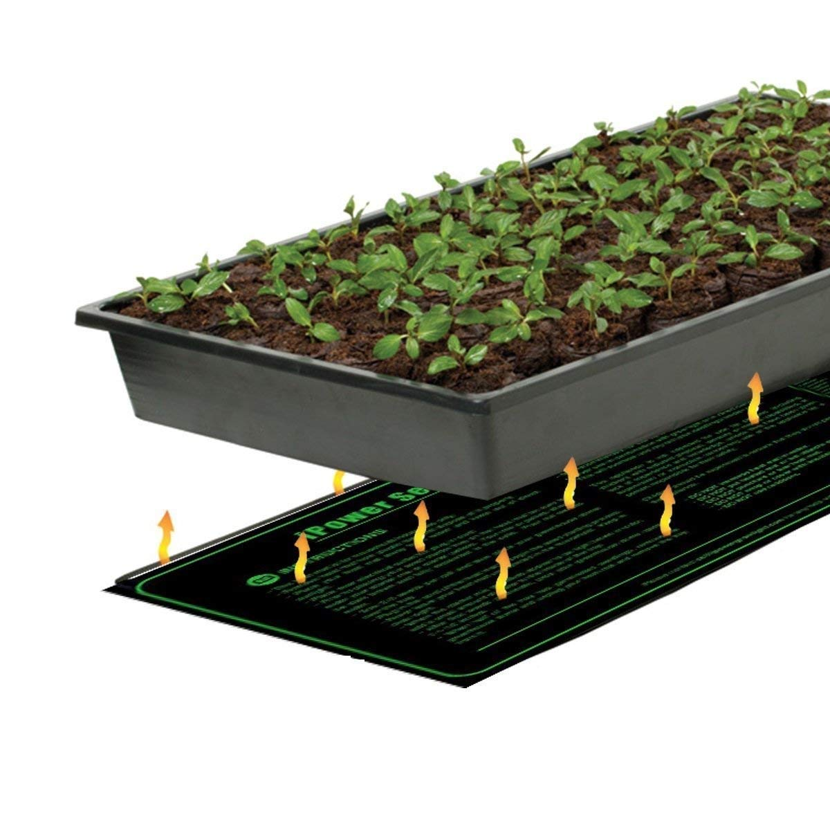 iPower 10'' x 20.5'' Hydroponic Seedling Heat Mat and Digital Thermostat Control and Humidity Monitor Indoor Thermometer Combo Set for Seed Germination, Black by iPower