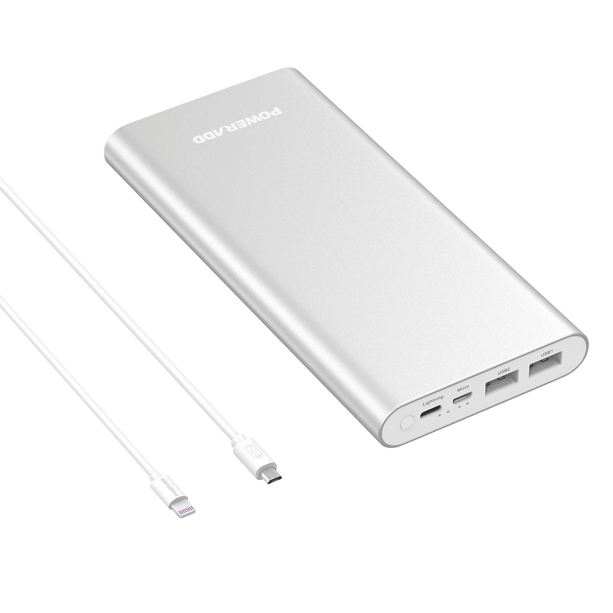 Poweradd Pliot 4 Gs Plus 20000m Ah External Battery Pack Lightning & Micro Input Power Bank 3.6 A Fast Charger For I Phone, I Pad, Samsung, Lg And More   Silver (Apple & Micro Cable Included) by Poweradd