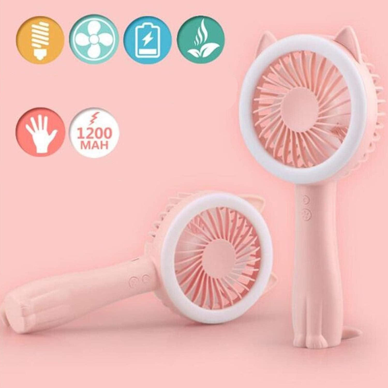 Fan USB Fan Handheld Folding Portable Electric Fan Night Light Fan Mini 3 Gear Desktop Fan Mini Portable Cooling Fan Color : Pink