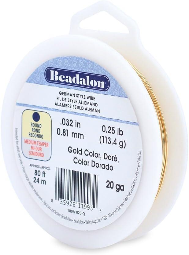 1//4-Pound Beadalon 20-Gauge German Style Round Jewelry Wire Gold,80 ft