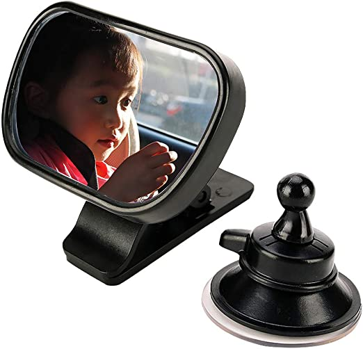 black JIUY 2 in 1 Universal Adjustable Plastic Rear View Interior Mirror Car Seat for Baby Child Safety With Clip and Sucker