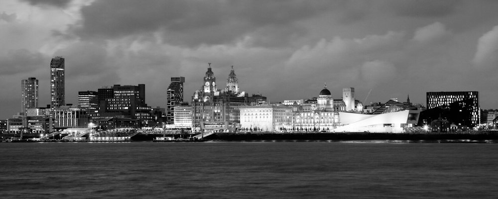 Liverpool waterfront at night black x 12 x 1½ deep